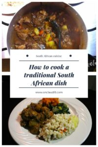 This is Beef stew with samp and beans, spinach and butternut - a traditonal South African dish.